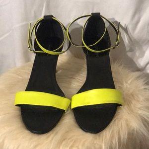 Neon yellow scrappy heels